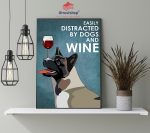 Dog american akita easily distracted by dogs and wine poster4