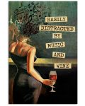 Vintage girl easily distracted by music and wine poster