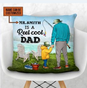 Personalized Fishing reel cool dad custom pillow